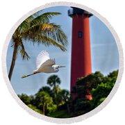 Bird In Flight Under Jupiter Lighthouse, Florida Round Beach Towel