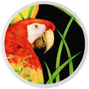 Bird In Paradise Round Beach Towel