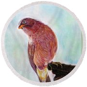 Round Beach Towel featuring the painting Bird by Jasna Dragun