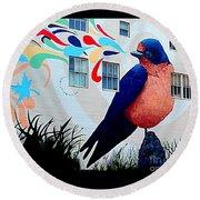 San Francisco Blue Bird Painting Mural In California Round Beach Towel