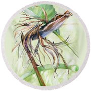 Round Beach Towel featuring the painting Bird Of Paradise, A Faded Beauty by Nadine Dennis
