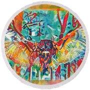 Bird Of Prey The Great Horned Owl Round Beach Towel