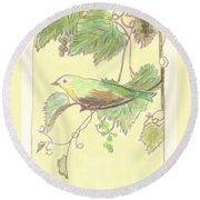 Bird On A Branch Round Beach Towel