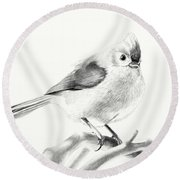 Round Beach Towel featuring the drawing Bird On A Branch by Eleonora Perlic