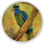 Bird On A Branch Round Beach Towel by Lewis Mann