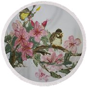 Round Beach Towel featuring the painting Bird On Blossoms by Avonelle Kelsey
