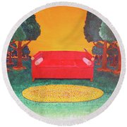 Bird On The Couch Round Beach Towel
