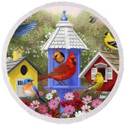 Bird Painting - Primary Colors Round Beach Towel