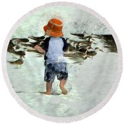 Bird Play Round Beach Towel