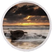 Bird Rock Clearing Storm Round Beach Towel
