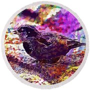 Round Beach Towel featuring the digital art Bird The Sparrow Nature Pen  by PixBreak Art