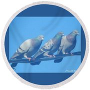 Bird Trio Round Beach Towel