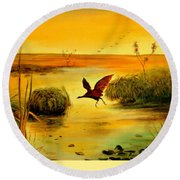 Bird Water Round Beach Towel