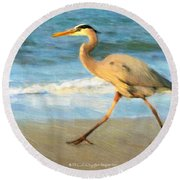 Bird With A Purpose Round Beach Towel