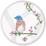 Minimal Bird And Cherry Flowers Round Beach Towel