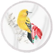 Bird In Yellow Round Beach Towel
