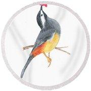 Minimal Bird And Flower Round Beach Towel