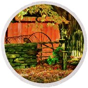 Round Beach Towel featuring the photograph Birdhouse Chair In Autumn by Jeff Folger