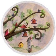 Birdhouses Round Beach Towel