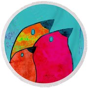 Birdies - V03a Round Beach Towel