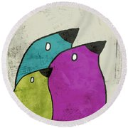 Birdies - V06c Round Beach Towel by Variance Collections