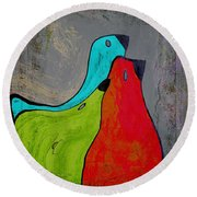 Birdies - V110b Round Beach Towel by Variance Collections