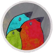 Birdies - V11b Round Beach Towel by Variance Collections