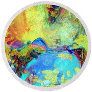 Round Beach Towel featuring the painting Birdland by Dominic Piperata
