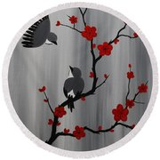 Birds And Blooms In Red Round Beach Towel