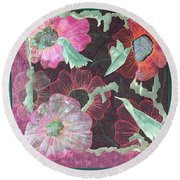 Birds And Blooms Round Beach Towel