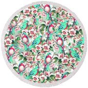 Birds And Flowers Round Beach Towel