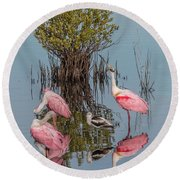 Birds And Mangrove Bush Round Beach Towel