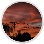 Birds And Sunset Round Beach Towel