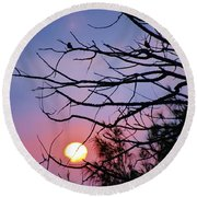 Birds At Sunset Round Beach Towel