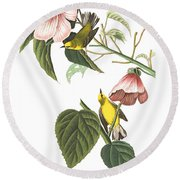 Round Beach Towel featuring the photograph Birds Chat by Munir Alawi