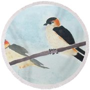 Birds Couple Round Beach Towel by Keshava Shukla