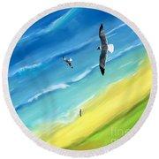 Bird's-eye Above Sea Round Beach Towel
