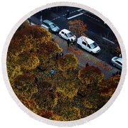 Bird's Eye Of A Berlin Street Round Beach Towel by Ana Mireles
