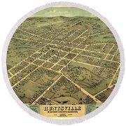 Bird's Eye View Of The City Of Huntsville, Madison County, Alabama 1871 Round Beach Towel