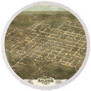 Bird's Eye View Of The City Of Raleigh, North Carolina 1872 Round Beach Towel