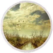 Round Beach Towel featuring the photograph Birds Flying Over A River by Jill Battaglia