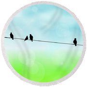 Birds Hanging Around Round Beach Towel