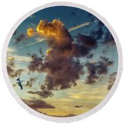 Birds In Flight At Sunset Round Beach Towel