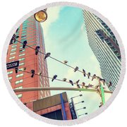 Birds In New York City Round Beach Towel