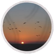 Birds In Sunset Round Beach Towel