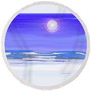 Birds In Winter Round Beach Towel