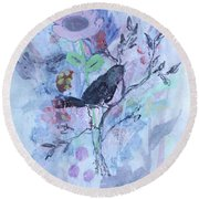 Round Beach Towel featuring the painting Birds Just Wanna Have Fun by Robin Maria Pedrero