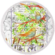 Round Beach Towel featuring the painting Bluebirds Nature Collage by Cathie Richardson