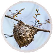 Round Beach Towel featuring the photograph Birds Nest by Christina Rollo