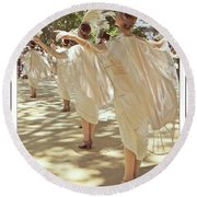 Birds Of A Feather Follies Round Beach Towel by Lilliana Mendez
